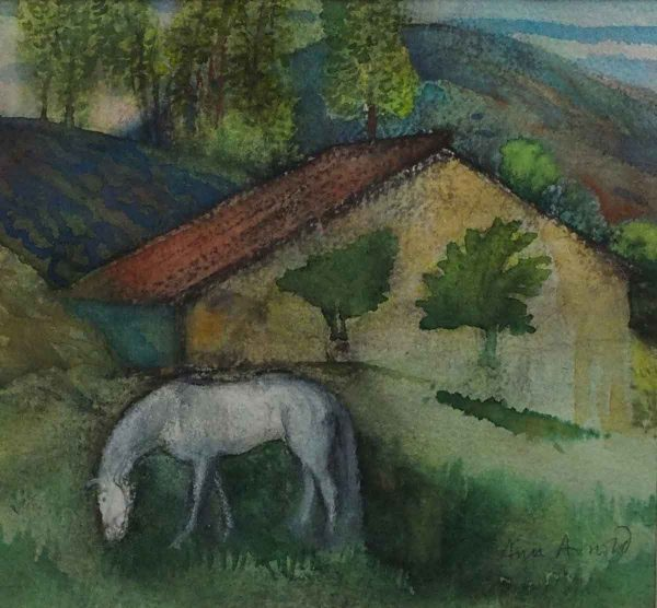 White Horse in a French Field