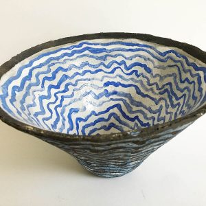 Blue & White Striped Bowl