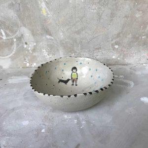 Round Boy & Dog Medium Bowl 1