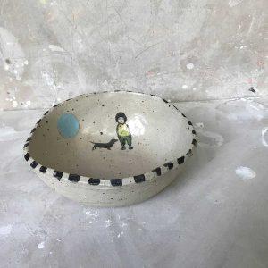 Round Boy & Dog Medium Bowl 2