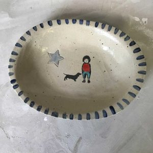 Oval Boy & Dog Bowl 1
