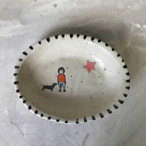 Oval Dog & Boy Bowl 2