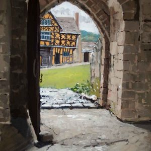 Stokesay Castle: View of the gatehouse from the hall
