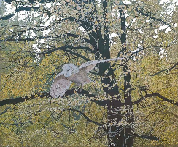Owl Amongst The Trees (white-out)