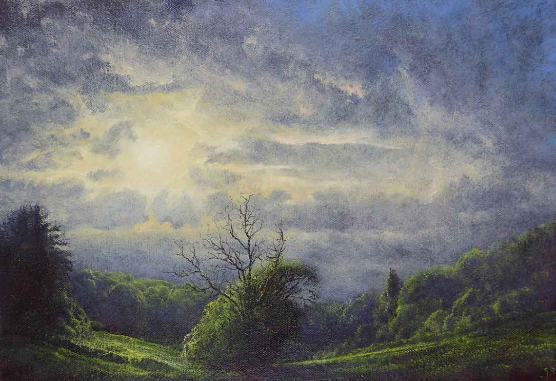 In Aldon Gutter. Oil on canvas. 18 x 26cm