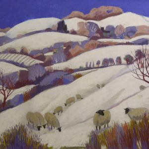 Sheep under a Winter Blue Sky