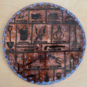 Gardening Round Flat Platter