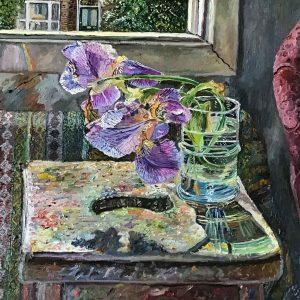 Irises next to the studio window