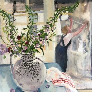 Self portrait with foxgloves and ivy