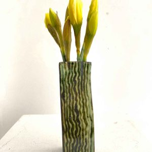 Flower Vase - Green vertical squiggles