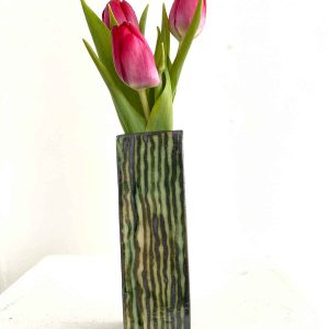 Flower vase 2 - green vertical squiggles