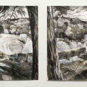 In the valley - through the trees II diptych (yn y dyffrn -trwy'r coed II diptych)